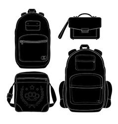 Set of 4 fashionable men bags Black vector image