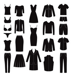 Set of women and man clothes icons vector