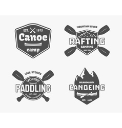set vintage rafting kayaking canoeing camp vector image