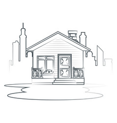 Sketch cottage flat residential houses vector