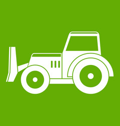 Skid steer loader icon green vector
