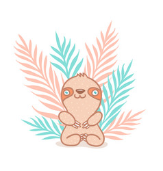 sloth and tropical plants vector image