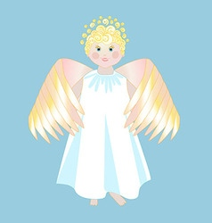 Smiling angel with wings in a white dress vector image