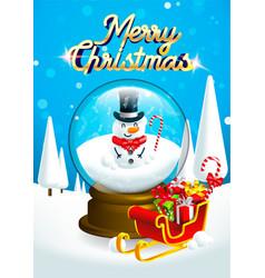 Snow man inside christmas snow globe crystal vector