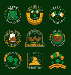 Stpatricks day badge and label collection vector