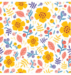 summer seamless pattern with blooming plants on vector image