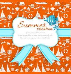 summer vacation paper sign at orange sea pattern vector image