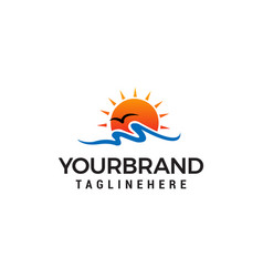 sun beach logo design concept template vector image