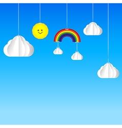 Sun cloud rainbow hanging on threads sky vector image