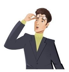 Surprised cartoon young man vector