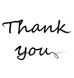 Thank you text icon on white background flat vector
