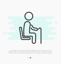 thin line icon priority seat for old person vector image