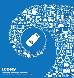 Usb Icon sign Nice set of beautiful icons twisted vector