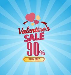 Valentines day sale 90 percent typographic vector