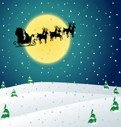 Winter night with Santa sleigh vector image
