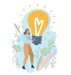 woman showing light bulb vector image