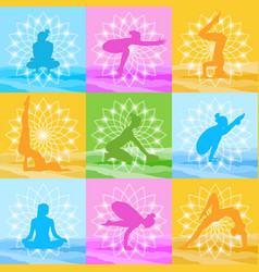 Yoga poses set woman silhouette over beautiful vector