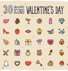 30 Colorful Doodle Valentines Day Icons vector image