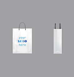 3d white shopping bag with black handles vector image