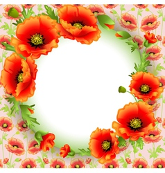 background frame with poppies in a circle and plac vector image
