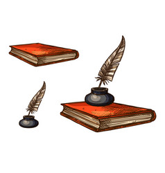 book with old feather pen and inkwell sketch vector image