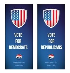 Election banner set with USA flag vector image