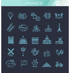 set line icons in flat design france vector image