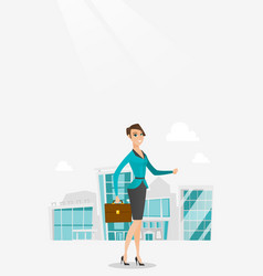 successful business woman walking in the city vector image vector image