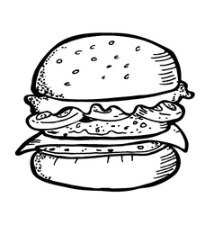 burger doodle vector image vector image
