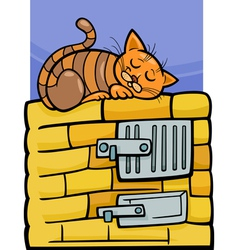 cat on stove cartoon vector image