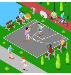 Isometric People Playing Basketball in the Park vector image vector image