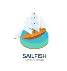 isometric sailboat icon vector image vector image