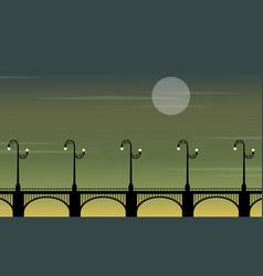 Street lamp lined on bridge landscape silhouettes vector