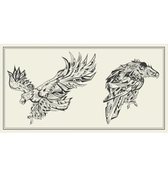 Birds Eagles graphic black and white style vector image