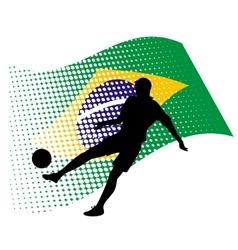 brasil soccer player against national flag vector image vector image