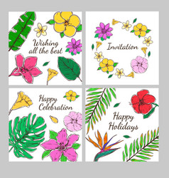colored floral decorative invitation cards set vector image vector image
