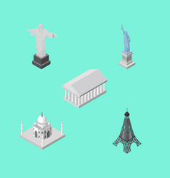 isometric cities set of athens paris india vector image vector image