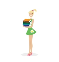 Schoolgirl or student standing with a stack of vector image vector image
