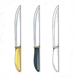 Set realistic sketch knives Knives for design vector image