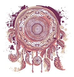 dream catcher with ornament tattoo art vector image
