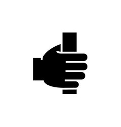 hand holding icon black sign vector image vector image