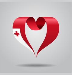 tonga flag heart-shaped ribbon vector image vector image