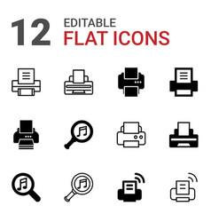 12 printer icons vector image
