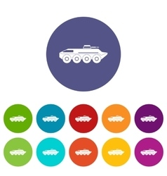 Armored personnel carrier set icons vector image