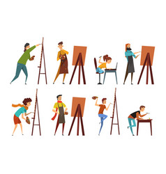 artists painting on canvas set painter characters vector image