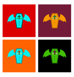 Assembly flat icons wings coffin vector