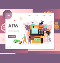 Atm website landing page design template vector