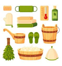 bath and sauna accessories flat vector image