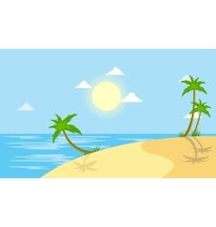 Beach scenery with sun vector