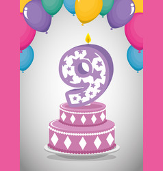 birthday card with candle number nine vector image